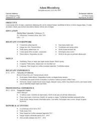Resume For Internship Position Objective On A Resume A Good Resume