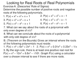 3 4 Looking For Real Roots Of Real Polynomials