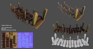 Wooden Bridge Game Bridge of Many Logs LowpolyGameReady by mhofever on DeviantArt 16