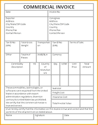 Commercial Invoice Commercial Invoice Template Uk Invoice International Commercial Form