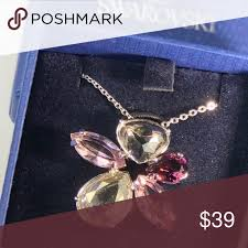 swarovski large flower crystal pendant