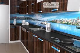 3d kitchen backsplash with glass panels