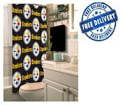 instantly define the theme of your lavatory with the nfl pittsburgh steelers decorative bath collection shower curtain it makes a wonderful gift for a