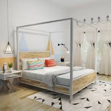 Eatha Industrial Stained Solid Acacia Wood Queen Size Canopy Bed