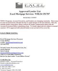 Approved Lender List Excel Mortgage Services Nmls Pdf