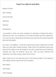 Thank You For The Hard Work Letter Sample Appreciation Letter To Employee Hard Work Scrumps