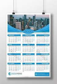Photoshop Calendar Template 2020 New Year Blue Color One Page Wall Calendar 2020 Template