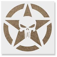 punisher skull star stencil for diy