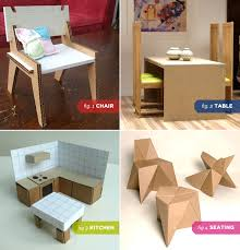 dollhouse modern furniture. Interesting Dollhouse Modern Cardboard Chair 2 Dollhouse Dining Table 3 Kitchen Intended Furniture