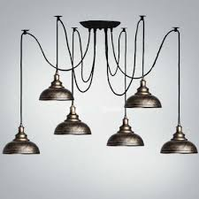 six light multi light led pendant lighting with bowl dome shade in old bronze finish