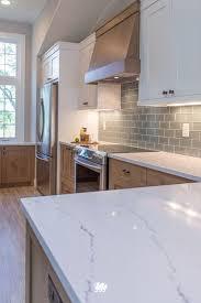 light grey quartz countertops kitchen white beachy backsplash