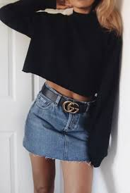 gucci outfits. denim skirt and gucci belt outfits