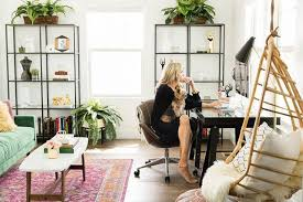 home office sofa. A Blogger\u0027s Bohemian Inspired Home Office With Wooden Hanging Chair And Green Velvet Sofa T