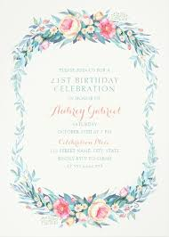 fl 21st birthday invitations elegant spring flowers