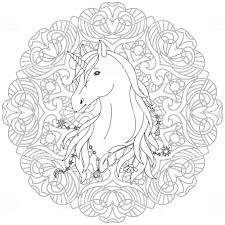 Unicorn Tattoo Kleurplaat Stockvectorkunst En Meer Beelden Van