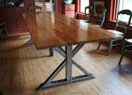 birch and steel trestle dining table