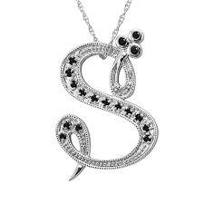 alphabet initial letter s black diamond pendant necklace in 14k white gold 1 10 carat