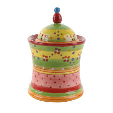 9 multicolored pottery painted canister for home use