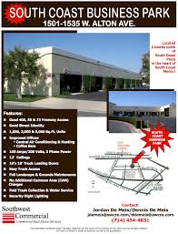 office space for lease flyer south coast business park by south coast plaza orange county santa