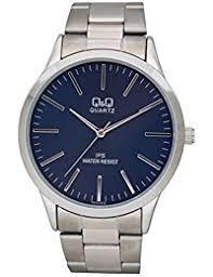 amazon co uk q q watches q q silver wrist watch blue dial