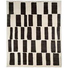 black and white tibetan wool and silk area rug by carini 8x10 for
