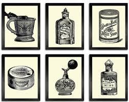 vintage bathroom wall decor. BATHROOM SET 6 Prints, Vintage Bathroom Items Illustration Art Wall Decor, Decor