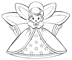 Christmas Coloring Paper Free Christmas Coloring Pages Retro Angels The Graphics Fairy