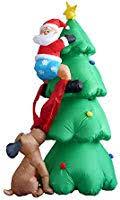 6 Foot <b>Inflatable Christmas Santa</b> Claus Climbing on <b>Christmas</b> Tree ...
