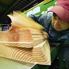 Cedar logs from forest thinning are sliced into 0.5-mm-thin sheets in Umaji
