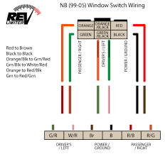 revlimiter net nb retro window switch install one wiring diagram study it the wiring is the same for all nb cars the oem window switches themselves are different from nb1 to nb2 but the wiring is