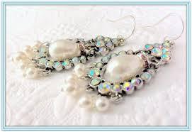 bridal chandelier earrings antique silver and rhinestone encrusted wedding jewelry sterling silver aaa white swarovski teardrop pearls