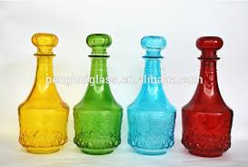 Decorative Colored Glass Bottles Modern Concept Decorated Glass Bottles Small Amber Brown 97