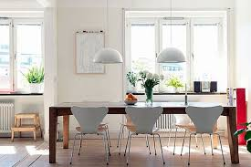 white bowl shaped pendant lamps for retro dining room decor ideas with white interior color and