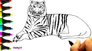 Small Picture How to Draw a Tiger and coloring with colored Tiger Coloring