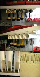 diy tool storage ideas cordless power tool storage idea using pipe diy garden tool storage ideas