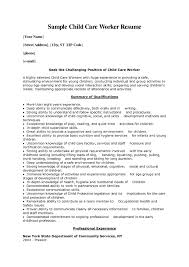 Sample Child Care Worker Cover Letter Daycare Resume Examples