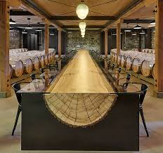 Table made from split tree trunk.