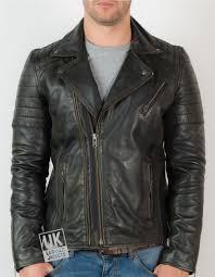 mens cross zip leather biker jacket vortex black