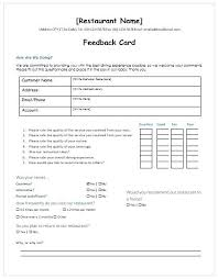 Customer Form Template Restaurant Customer Feedback Form Template Free Download Excel Word
