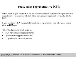 route sales representative kpis in this ppt file you can ref kpi materials for route route sales
