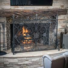 gas fireplace safety screen home depot black metal chrome brown wood surrounds beige stacked stone wall fireplace safety screen