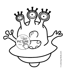Small Picture Alien with three eyes coloring pages for kids printable free