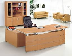 design of office table. Modern Wooden Office Desk Design Combined With Cabinet And Leather Executive Chair Of Table