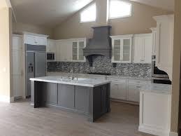 white shaker kitchen cabinets grey floor. Shaker White Kitchen Fluted Grey Island Beach-style-kitchen Cabinets Floor Z
