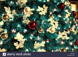 Ornaments And Lights Christmas Background With Pine Branches Multicolor Lights