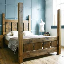 HANDMADE SOLID WOOD RUSTIC CHUNKY SLATTED FOUR POSTER DOUBLE ...