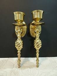 pair brass wall candle holders sconces