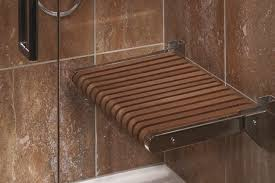 ... Wooden Shower Bench Designed Wall Mounted Teak Shower Bench : Nice  Bathroom Interior Design With Shower Room Using Glass Door ...