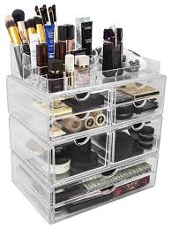 sorbus acrylic stackable detachable makeup storage case x large display sets