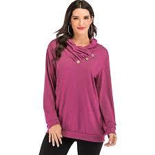 Women's Long Sleeve Pullovers <b>Button Cowl Neck</b> Shirt <b>Casual</b> ...
